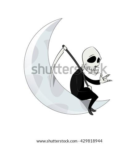 fun cartoon grim reaper sitting on the moon simple character spooky symbol halloween vector