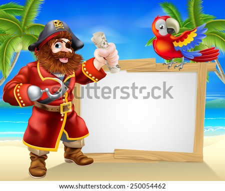 Fun cartoon pirate beach sign illustration of a fun cartoon pirate on a beach holding a treasure map with his parrot on the sign and palm trees in the background