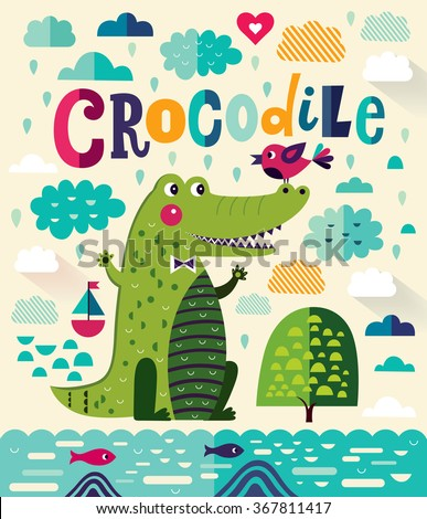 Fun cartoon vector illustration with cute crocodile