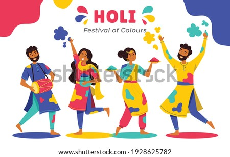 "Fun characters celebrate Holi, vector.  Holi is a popular ancient Hindu festival, also known as the ""festival of spring"", the ""festival of colours"", and the ""festival of love""."