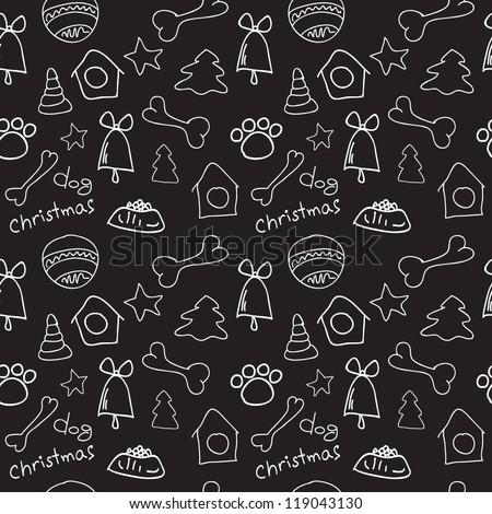 Fun christmas dog seamless black and white pattern background