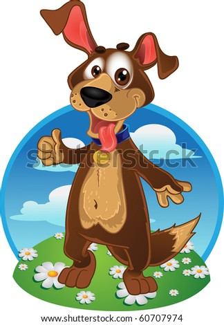 Fun dog on a color background