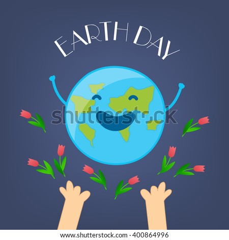 fun earth day card with hands