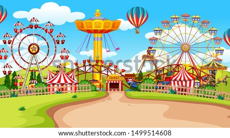 Fun fair amusement park empty illustration