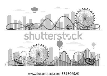 Fun fair amusement park landscape silhouette with ferris wheel, carousels and roller coaster. Festival outdoor with recreational park in town illustration