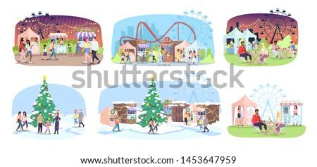 Fun fair flat vector illustrations set. Winter and summer street market, funfair. People walk fairground with Christmas tree, market stalls, ferris wheel and roller coaster. City event, festival