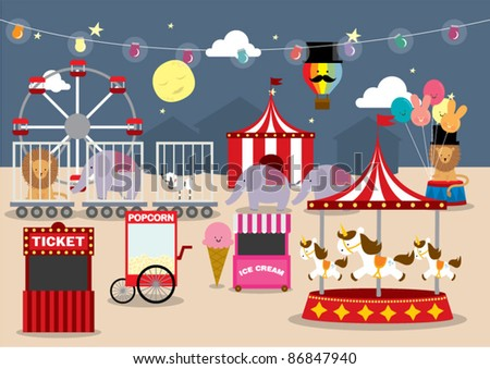 fun fair vector illustration