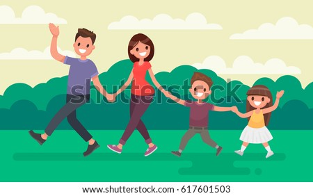 Fun family walking in the park. Rest at nature. Vector illustration in a flat style