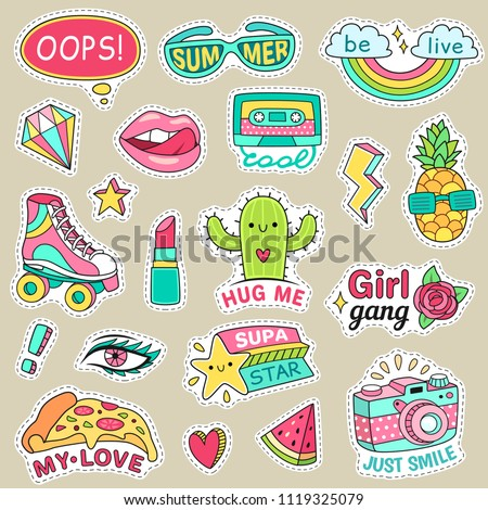 Fun fashion teenage stickers. Cute cartoons patches food rainbow retro stuff and motivation words doodle icon for teenager happy girl. Sticker pack colorful badges vector illustration isolated set