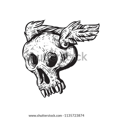 fun flying skull with wings