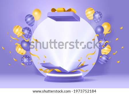 Fun giveaway birthyday podium with ballons and opened gift box againts purple wall background for product display, celebration, competition, winner. 3d render podium vector