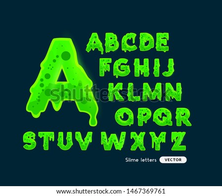 Fun glowing green slime letters alphabet. Vector illustration