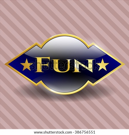 Fun gold emblem or badge