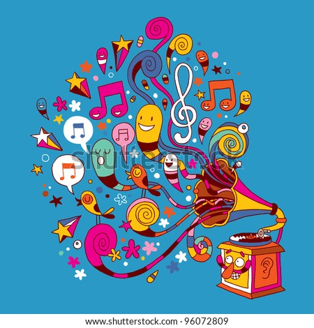 stock vector : fun gramophone