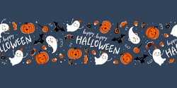 Fun hand drawn halloween horizontal seamless pattern with ghosts, pumpkins, bats and candy. Great for halloween concepts, textiles, banners, wallpapers, wrapping - vector design