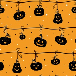 Fun hand drawn halloween pumpkin seamless pattern, cute pumpkins background, great for banners, wallpapers, textiles, cards - vector design