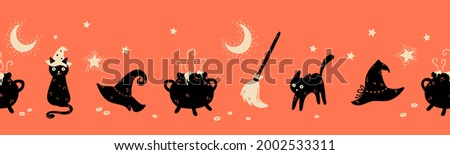 Fun hand drawn Halloween seamless pattern with cats, hats, bats and decoration - great for textiles, banners, wallpapers, wrapping - vector design