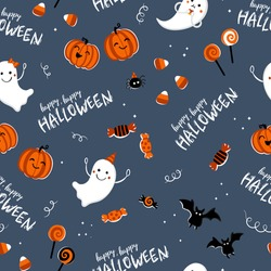 Fun hand drawn halloween seamless pattern with ghosts, pumpkins, bats and candy. Great for halloween concepts, textiles, banners, wallpapers, wrapping - vector design