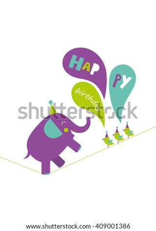 fun happy birthday card. vector illustration #409001386