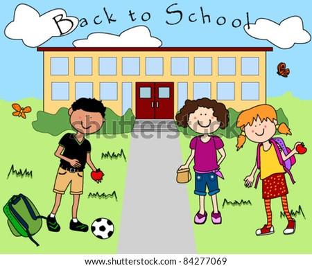 Fun happy cartoon kids going back to school.