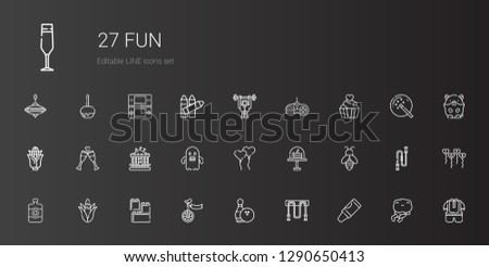 fun icons set. Collection of fun with crayon, jumping rope, bowling, unicycle, lego, corn, sun lotion, bee, cake, ballons, ghost, carousel, toast. Editable and scalable fun icons.