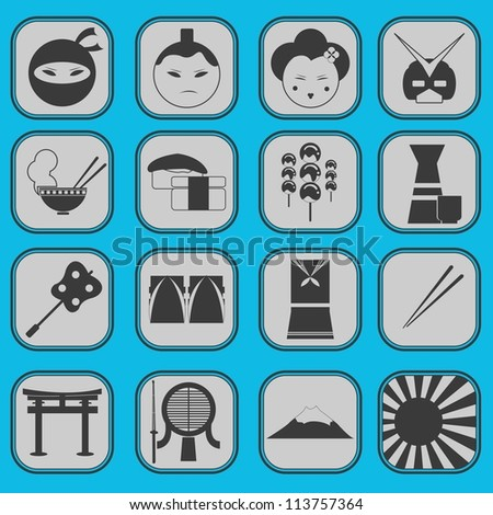 fun japanese icon pictogram collection set complete