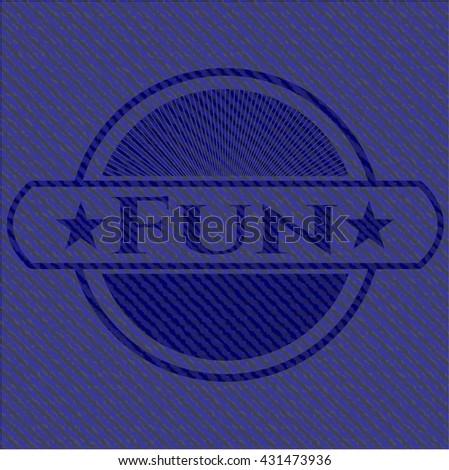 Fun jean or denim emblem or badge background