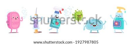 Fun kids hygiene object animated cartoon characters set. Soap, corona virus vaccine syringe, sanitizer spray, mask, antiseptic bottle. Pandemic prevention protection flat vector illustration