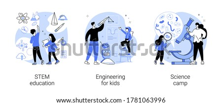 Fun learning activities abstract concept vector illustration set. STEM education, engineering for kids, science camp, technology class, laboratory experiment, early development abstract metaphor.