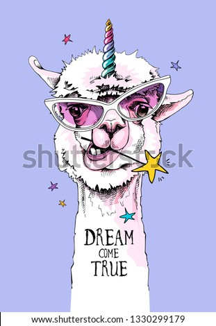 Fun Llama in a pink glasses, with a rainbow unicorn horn and with a star. Dream come true - lettering quote. Humor card, t-shirt composition, hand drawn style print. Vector illustration.
