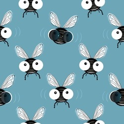 Fun seamless pattern of the flies with big eyes and flies in sunglasses