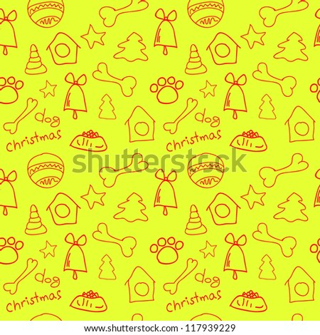 Fun seamless pattern on yellow (lemon) background -  christmas for dog