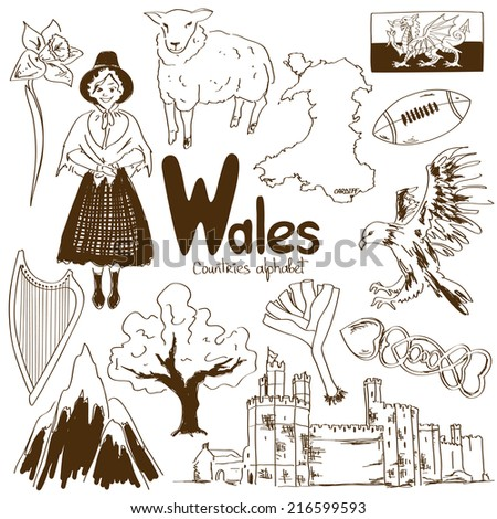fun sketch collection of wales