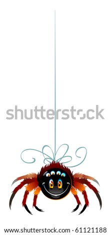 Fun spider in black and orange colors. Happy smile and six eyes, eight legs. Single object on white background.