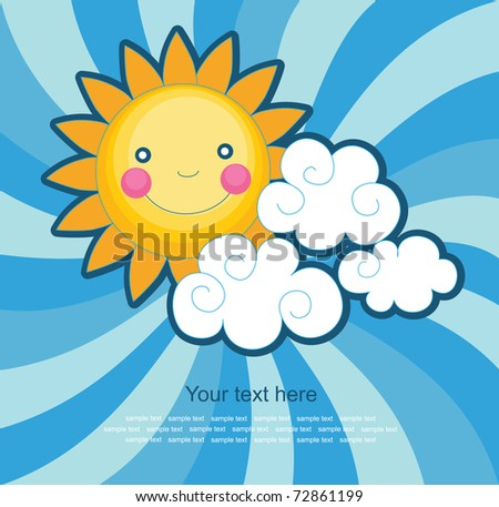 fun sun over abstract sky background. vector