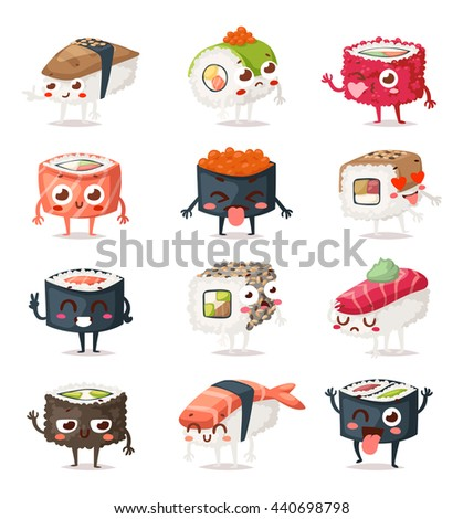 fun sushi characters and