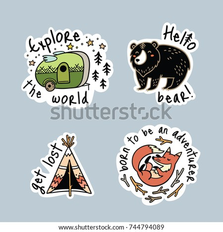 Fun travel stickers and patches for big adventures. Isolated vector illustrations for camping and outdoors. Set with fox, grizzly and tent