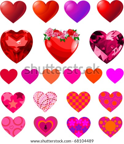 Fun vector set of different heart shapes.