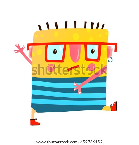 Fun yellow serious monster childish cute creature walking. Whimsical imaginary cartoon character in glasses go to study. Vector illustration.