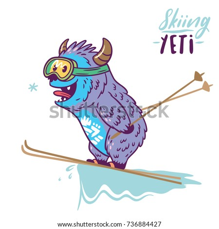 fun yeti skiing cute cartoon