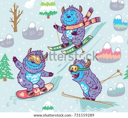 fun yeti snowboarding and