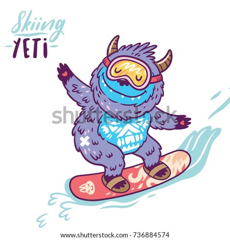 fun yeti snowboarding cute