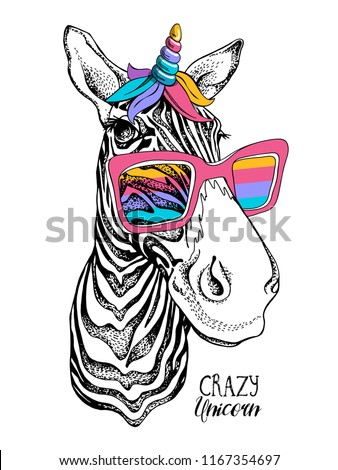 Fun Zebra in a bright magical mask: wig, horn and rainbow sunglasses. Vector illustration. Crazy unicorn - lettering quote. Humor poster, t-shirt composition, hand drawn style print.