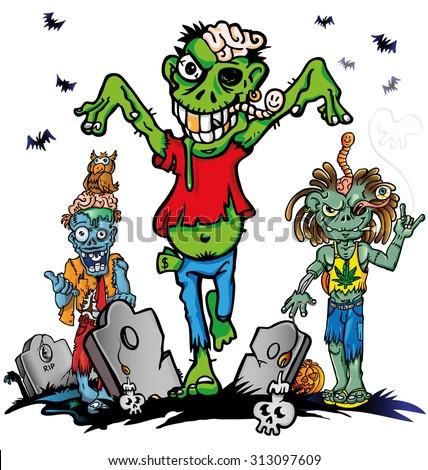 fun zombie cartoon set on