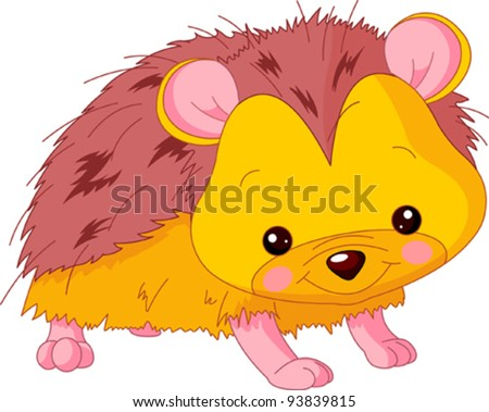 Fun zoo. Illustration of cute Hedgehog - stock vector