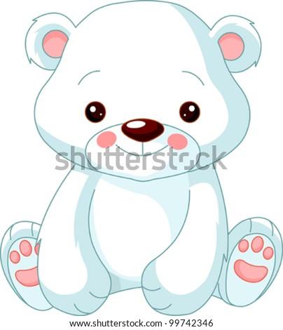 Fun zoo. Illustration of cute Polar Bear - stock vector