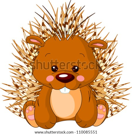 Fun zoo. Illustration of cute Porcupine
