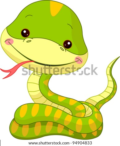Fun zoo. Illustration of cute Snake