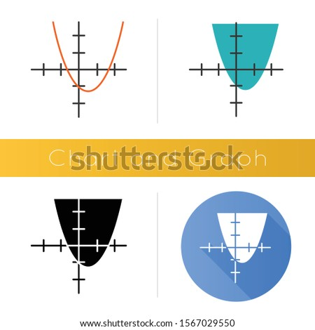 Function graph icon. Curve chart with increasing section. Trigonometry, geometry data presentation. Information analysis. Flat design, linear and color styles. Isolated vector illustrations