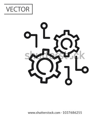 function settings, line sign, vector icon